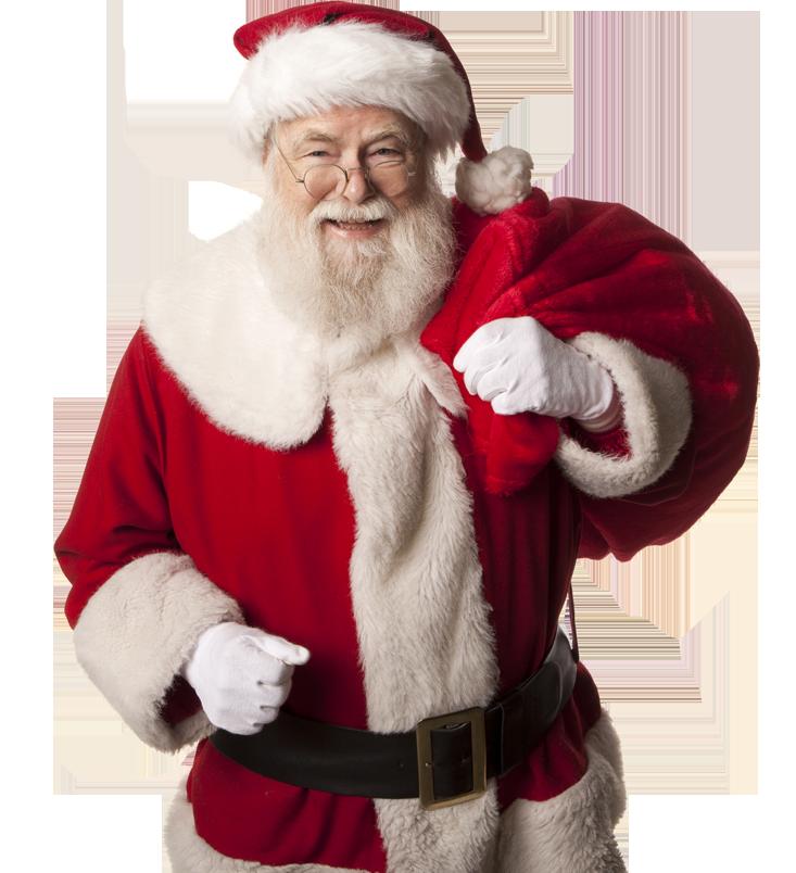 """Photo d'un Santa """"Claus"""" avec sa tenue complète."""