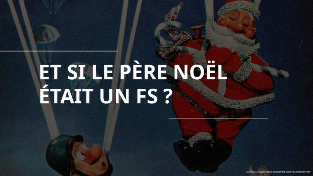 parachutiste qui regarde le père Noël en parachute