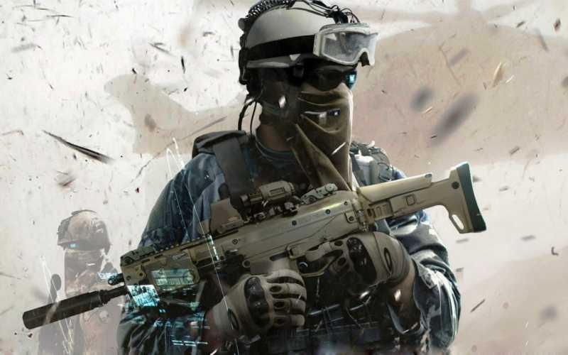 Soldat avec des équipements et armes de défense pour Airsoft