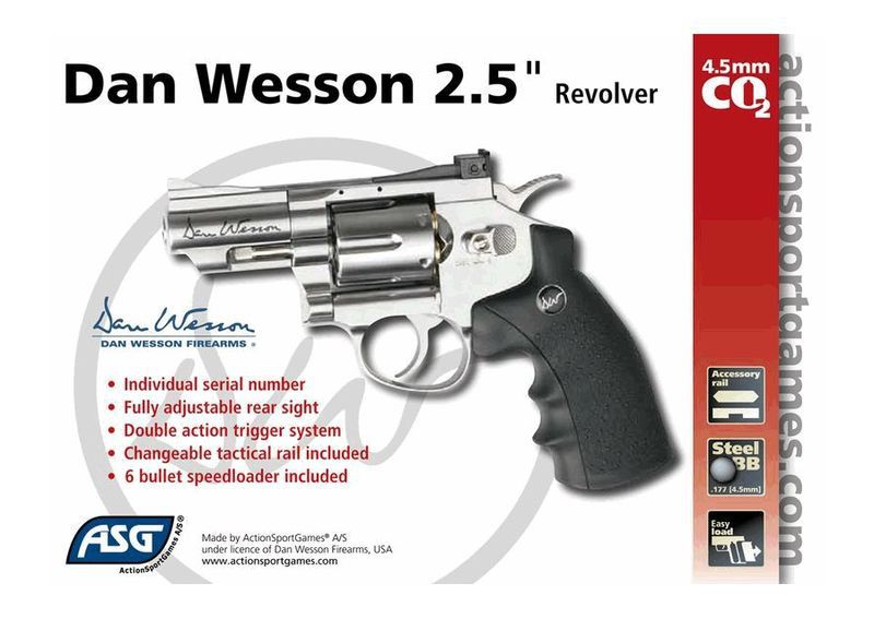 AIRGUN DAN WESSON CO2 2,5\'\' CHROME FULL METAL BBS 4.5