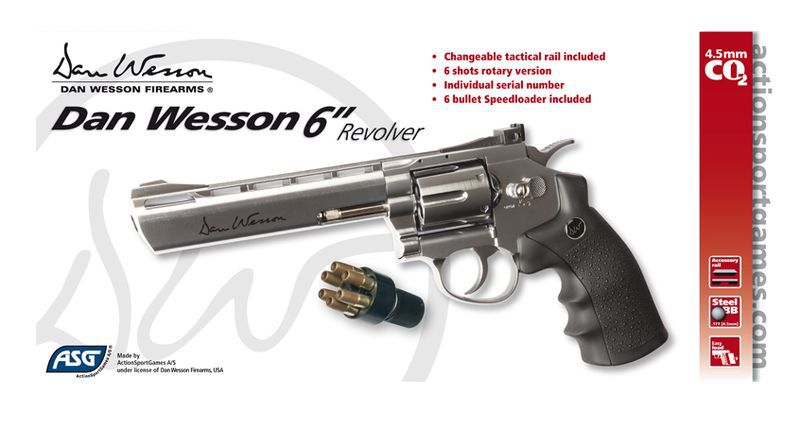 AIRGUN DAN WESSON CO2 6\'\' CHROME FULL METAL BBS 4.5