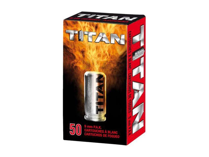 BOITE DE 50 CARTOUCHES TITAN A BLANC CALIBRE 9MM PAK