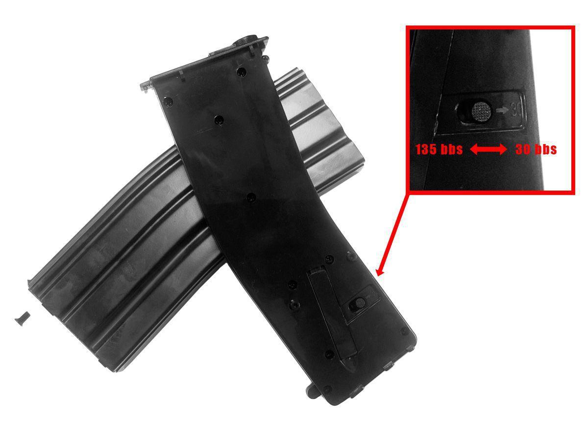 Chargeur AEG Mid-cap metal noir pour M4 series Capacité ajustable 30/135 BBS