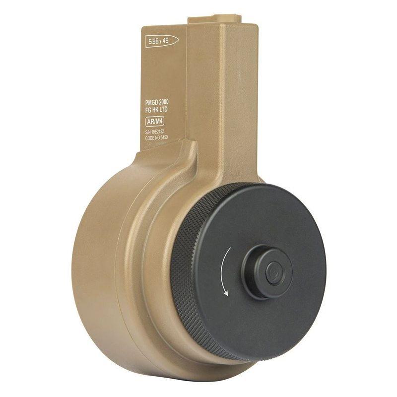 Chargeur drum 2150 billes ARES Tan pour M4 Series