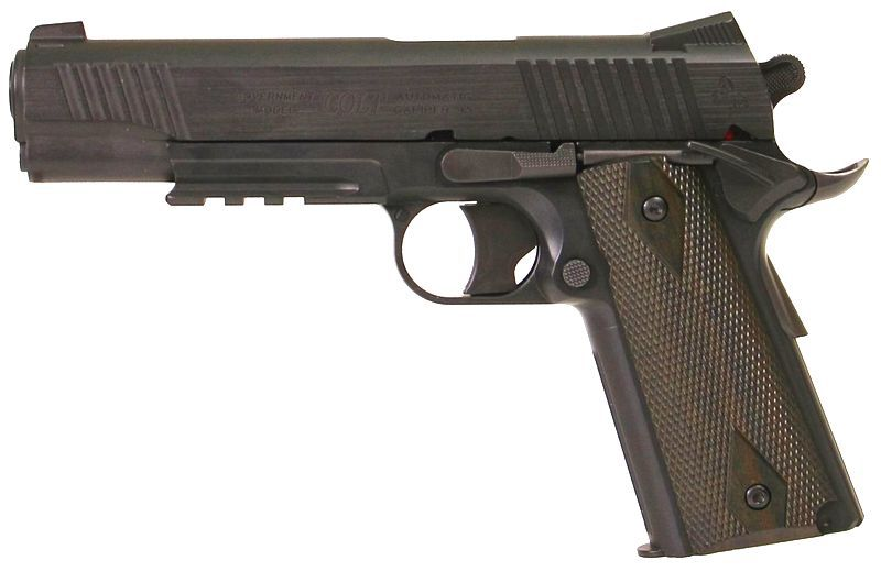 COLT 1911 RAIL GUN CO2 NOIR CULASSE FIXE FULL METAL