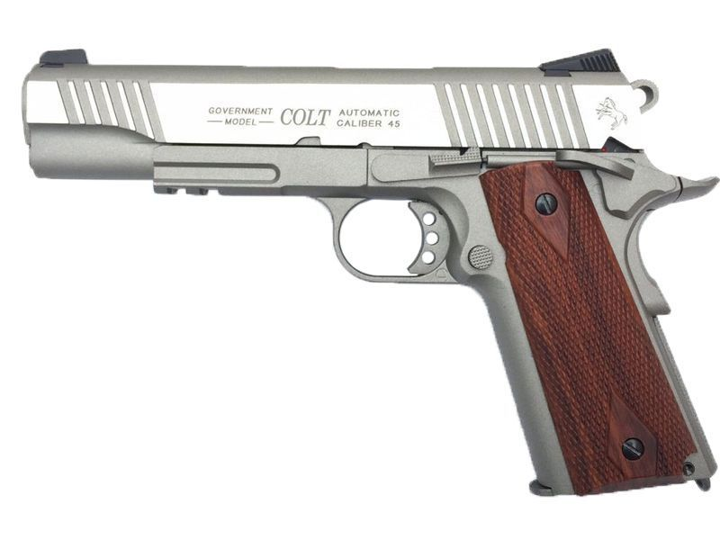 COLT 1911 RAIL GUN CO2 STAINLESS SILVER BLOWBACK FULL METAL