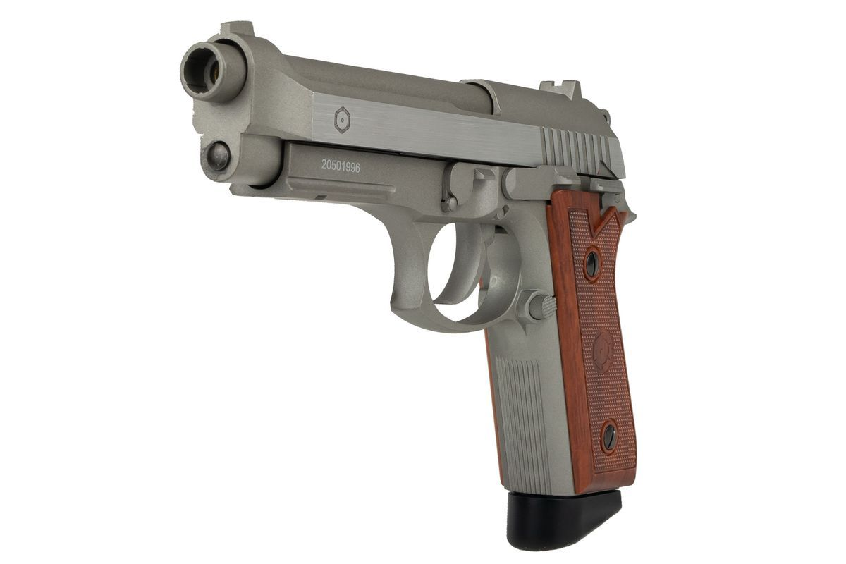 Cybergun PT99 Full Metal Silver CO2 Semi et Full Auto - Chargeur court - 1,9J