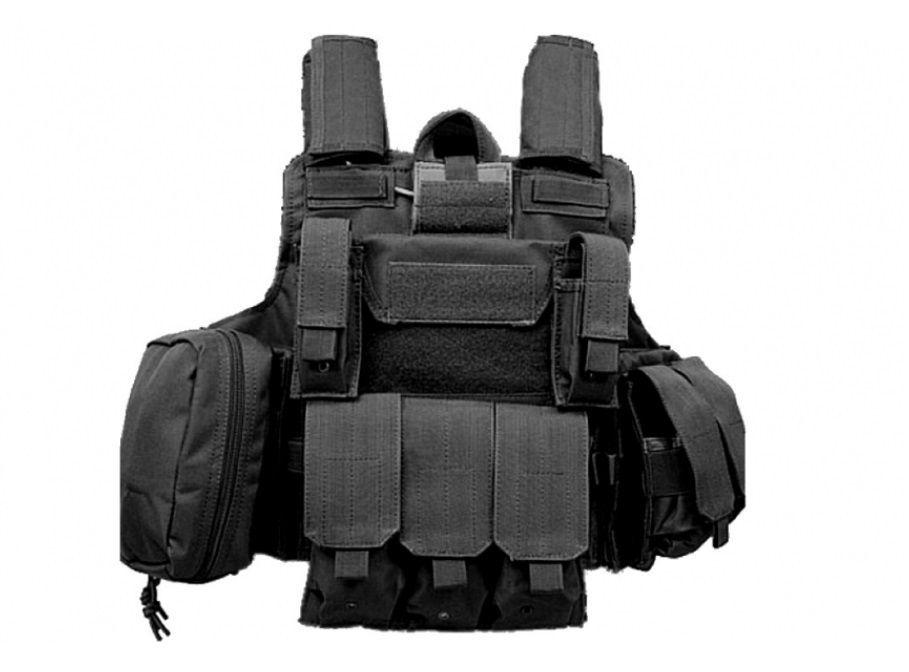 Gilet de combat type CIRAS noir S&T Airsoft avec poches MOLLE