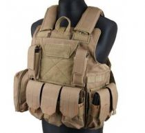 Gilet de combat type CIRAS Tan S&T Airsoft avec poches MOLLE