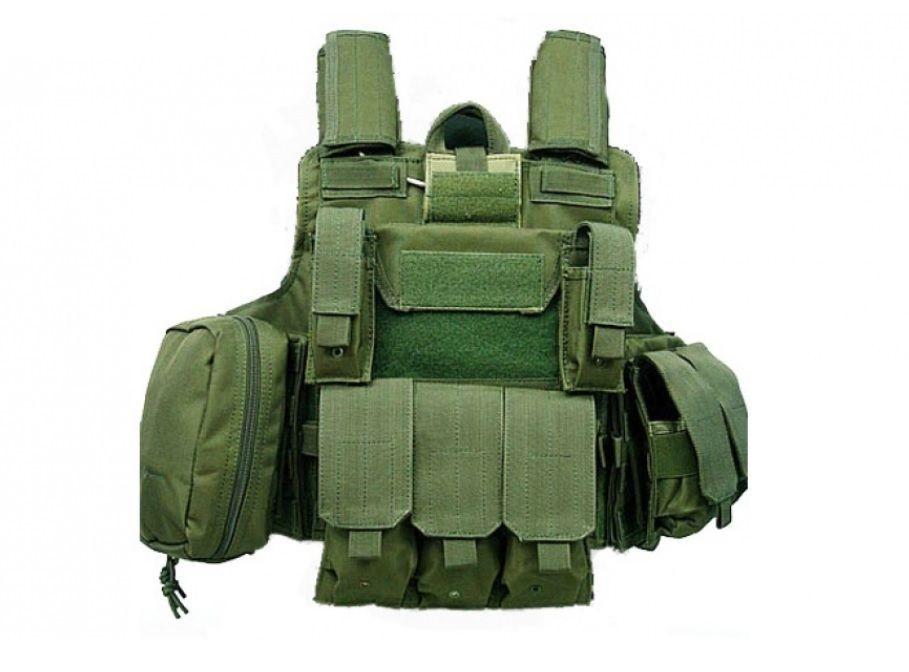 Gilet de combat type CIRAS Vert OD S&T Airsoft avec poches MOLLE