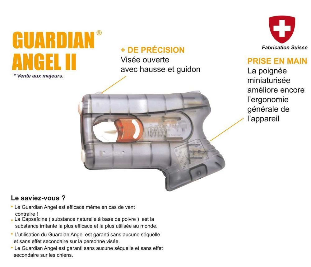 GUARDIAN ANGEL II NOIR DEFENSE GEL POIVRE PROTECTEUR
