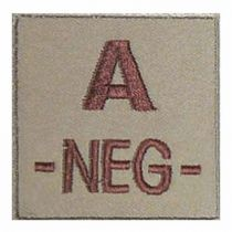 INSIGNE DE GROUPE SANGUIN BEIGE BRODURE MARRON A-NEG-