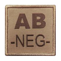 INSIGNE DE GROUPE SANGUIN BEIGE BRODURE MARRON AB-NEG-
