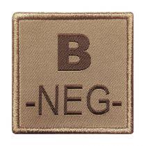 INSIGNE DE GROUPE SANGUIN BEIGE BRODURE MARRON B-NEG-