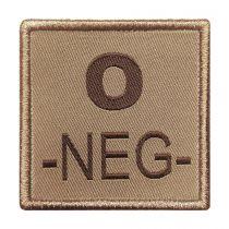 INSIGNE DE GROUPE SANGUIN BEIGE BRODURE MARRON O-NEG-