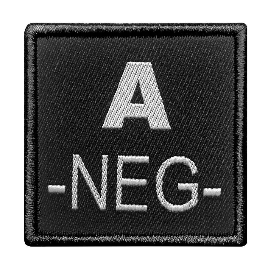 INSIGNE DE GROUPE SANGUIN NOIR BRODERIE GRISE A-NEG-