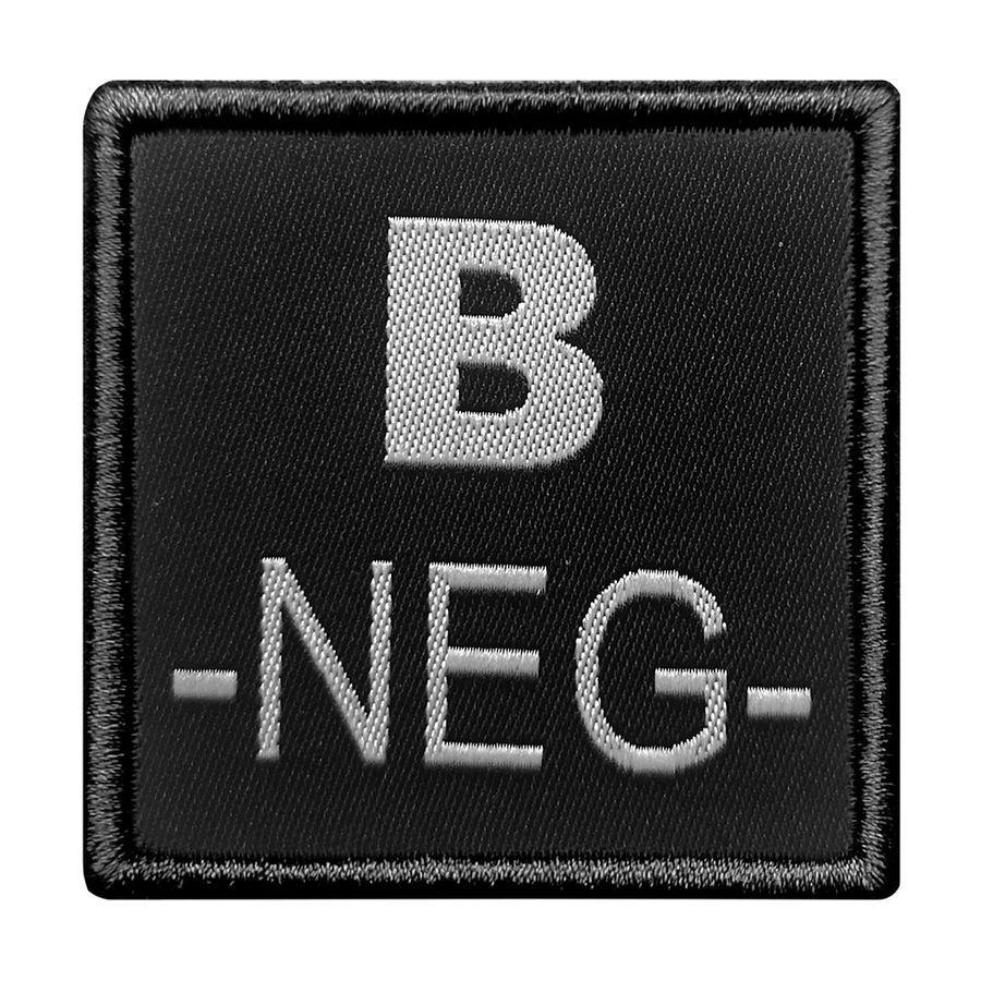 INSIGNE DE GROUPE SANGUIN NOIR BRODERIE GRISE B-NEG-