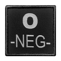 INSIGNE DE GROUPE SANGUIN NOIR BRODERIE GRISE O-NEG