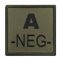 INSIGNE DE GROUPE SANGUIN VERT BRODERIE NOIRE A-NEG-