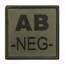 INSIGNE DE GROUPE SANGUIN VERT BRODERIE NOIRE AB-NEG-