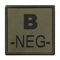 INSIGNE DE GROUPE SANGUIN VERT BRODERIE NOIRE B-NEG-