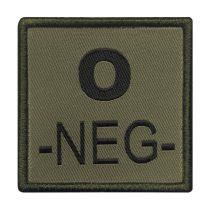 INSIGNE DE GROUPE SANGUIN VERT BRODERIE NOIRE O-NEG-