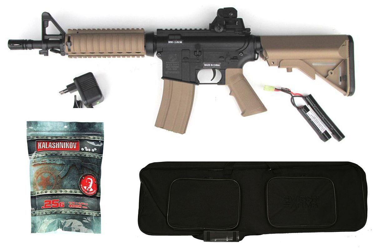 Pack Airsoft Colt M4 CQB AEG Bicolore 1,2J + Housse + Billes
