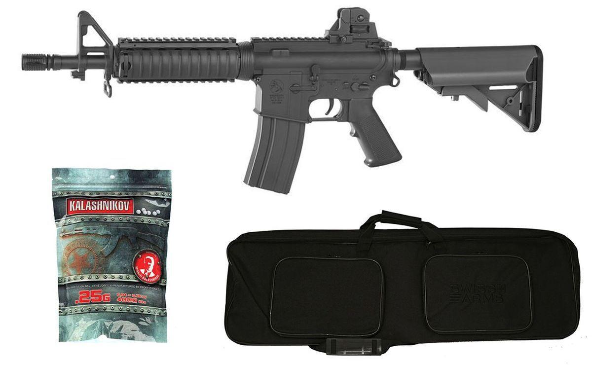 Pack Airsoft Colt M4 CQB AEG Noir 1,2J + Housse + Billes