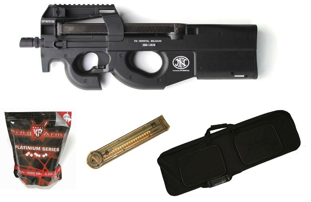 Pack Airsoft FN Herstal P90 AEG Noir + Chargeur + Housse + Billes