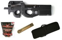 Pack Airsoft FN Herstal P90 AEG Noir + Chargeur + Housse + Billes