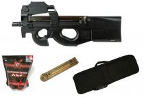 Pack Airsoft FN Herstal P90 AEG Noir avec Red-Dot + Chargeur + Housse + Billes