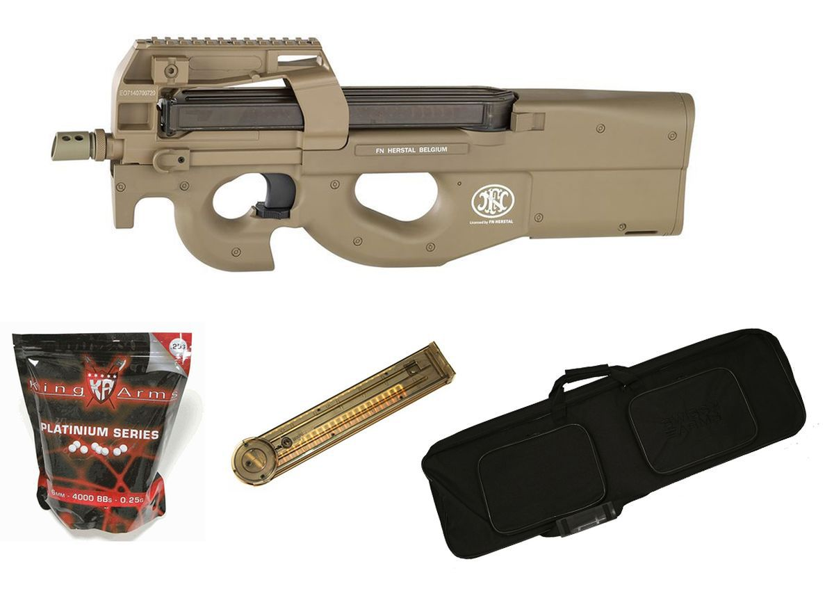 Pack Airsoft FN Herstal P90 AEG Tan + Chargeur + Housse + Billes