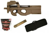 Pack Airsoft FN Herstal P90 AEG Tan avec Red-Dot + Chargeur + Housse + Billes