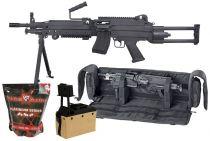 Pack Airsoft FN M249 PARA Nylon + Box Tan + Billes