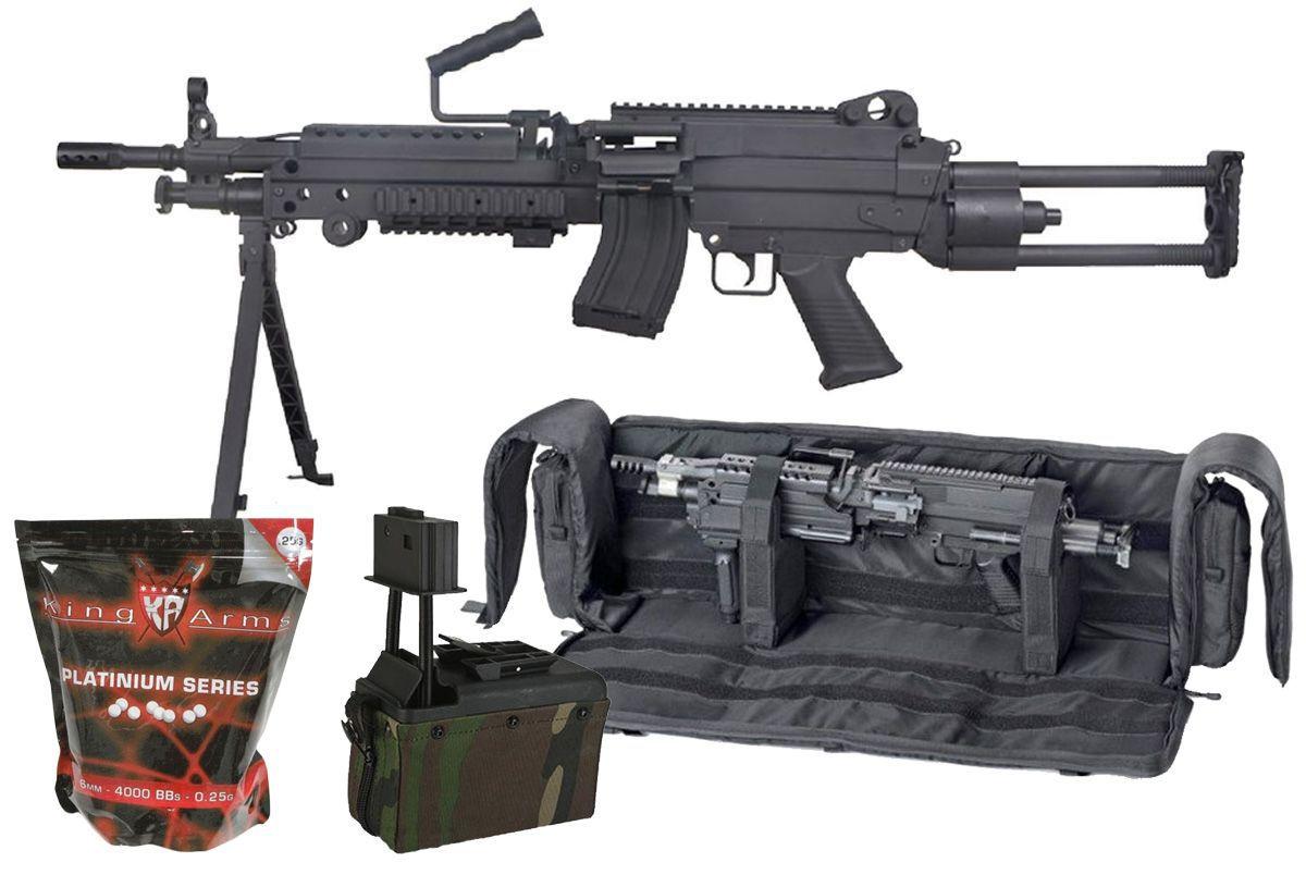 Pack Airsoft FN M249 PARA Nylon + Box Woodland + Housse 249 + Billes