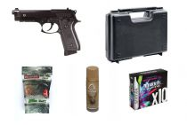 Pack Airsoft PT92 Semi et Full Auto + Mallette + 10 CO2 + Lubrifiant + Billes