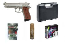 Pack Airsoft PT99 Semi et Full Auto + Housse + 10 CO2 + Lubrifiant + Billes