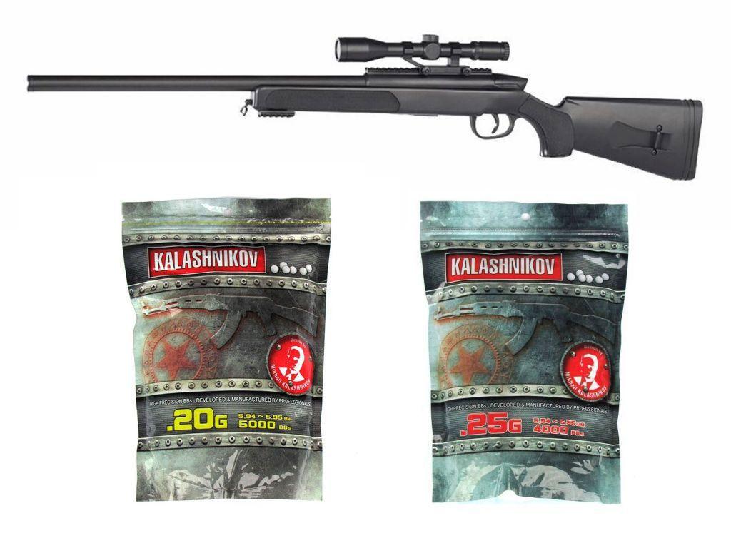 Pack Airsoft Sniper Black Eagle M6 Spring avec point rouge + Billes 0,20g + Billes 0,25g