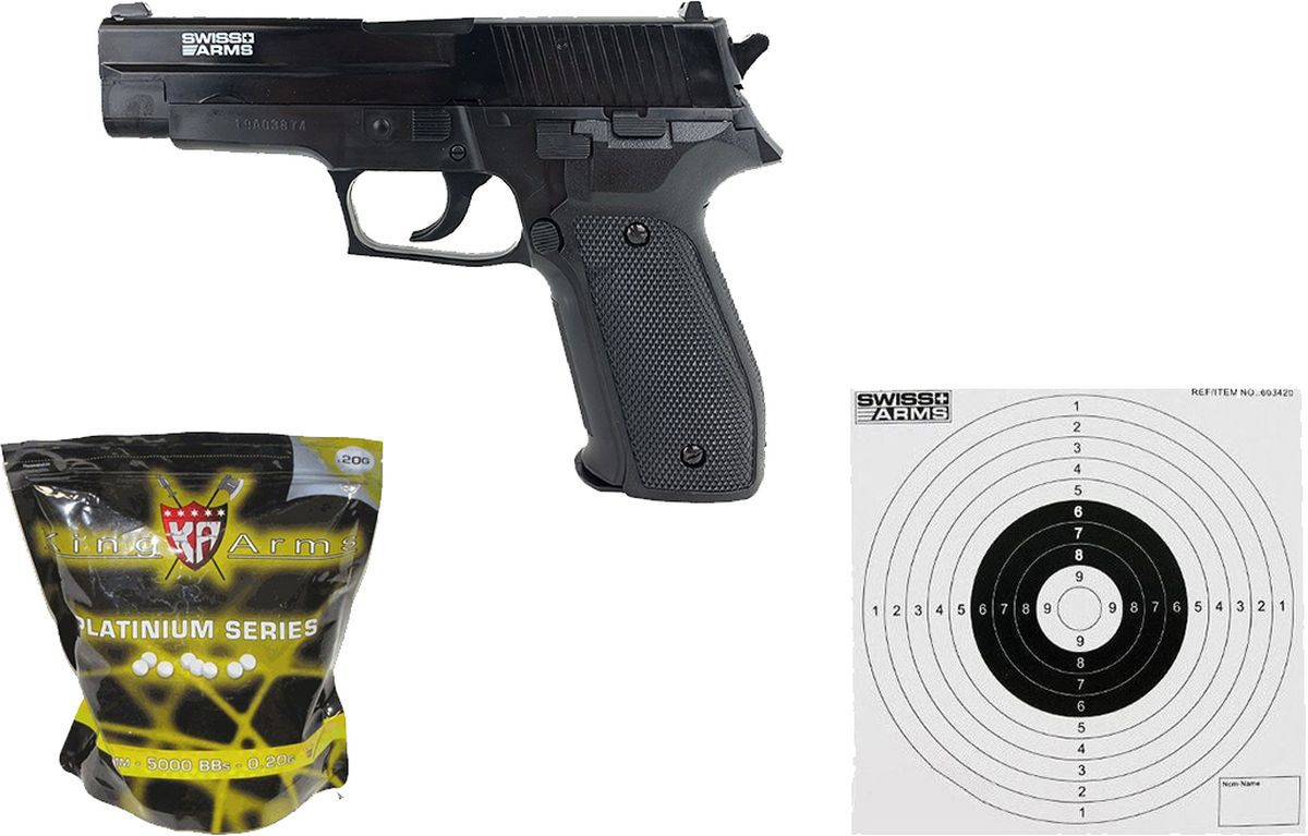Pack Airsoft Swiss Arms Navy Pistol spring + Billes + Cibles