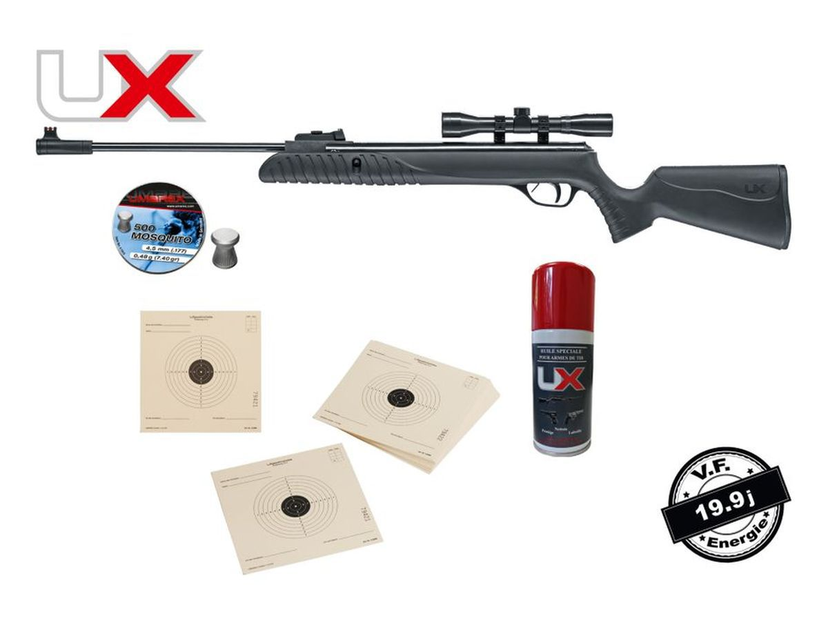 Pack Carabine UX SYRIX 19,9J + Lunette 4X32 + 500 Plombs plats + 100 Cibles 14X14 + Huile armes UX