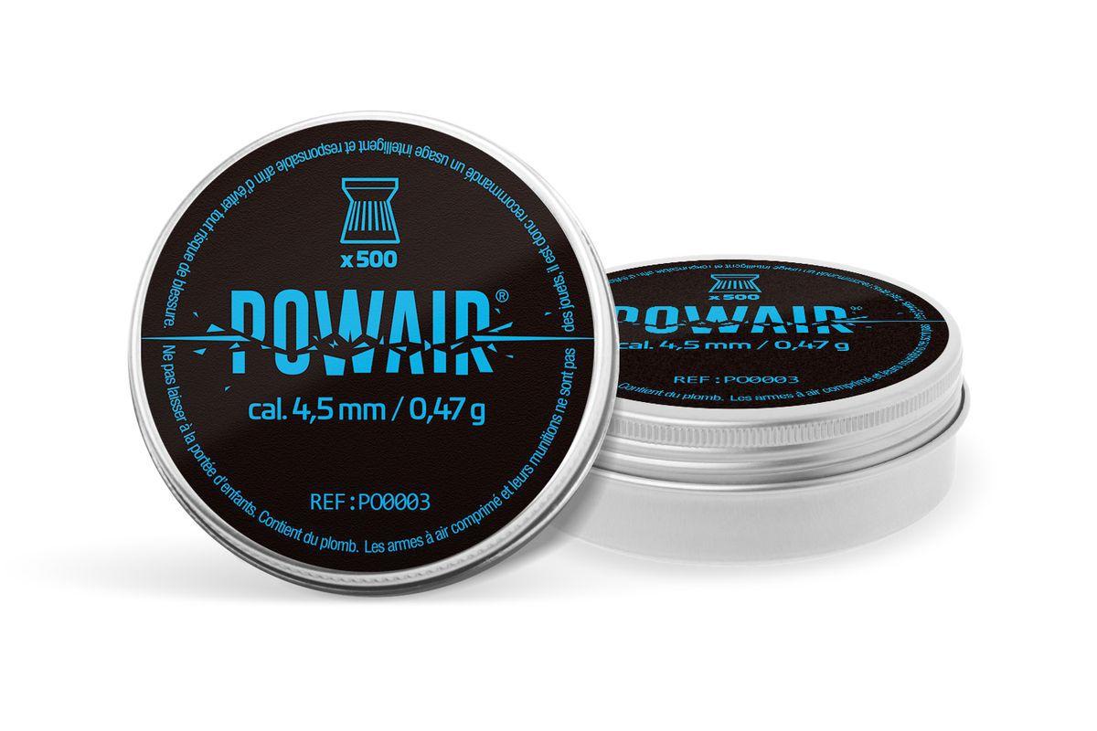 Plombs plats Powair 4,5mm 0,47g boite de 500 plombs