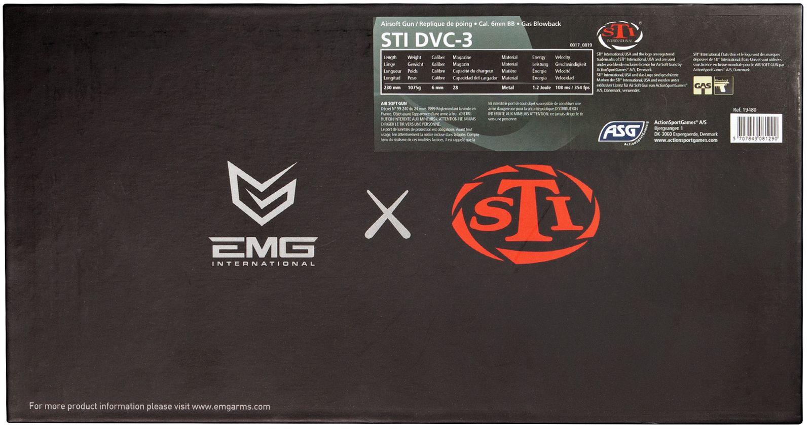 Réplique de poing Airsoft STI DVC 3 Gaz Blowback