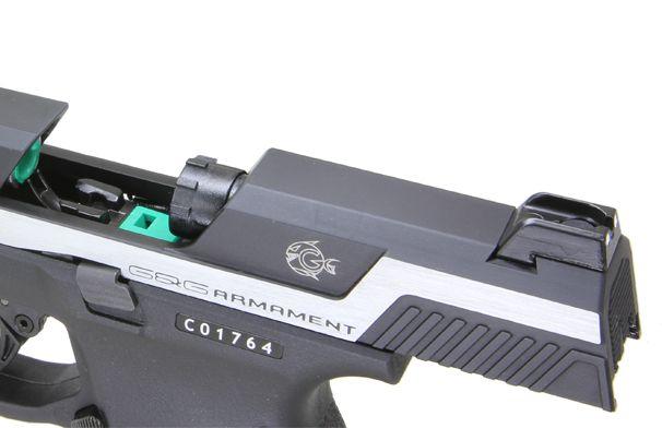 Réplique de poing G&G PIRANHA Mk I-SILVER Noir Full Métal GBB + Mallette