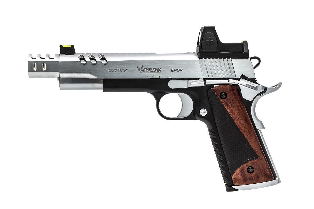 Réplique GBB gaz VORSK CS Defender Pro MEU Silver et Noir GBB + RMR BDS