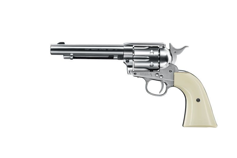 REVOLVER  À PLOMB COLT SAA 45 FINITION NICKEL CO2