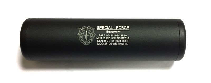 SILENCIEUX  SPECIAL FORCES NOIR 110 MM X 30 MM 14 MM + ET -