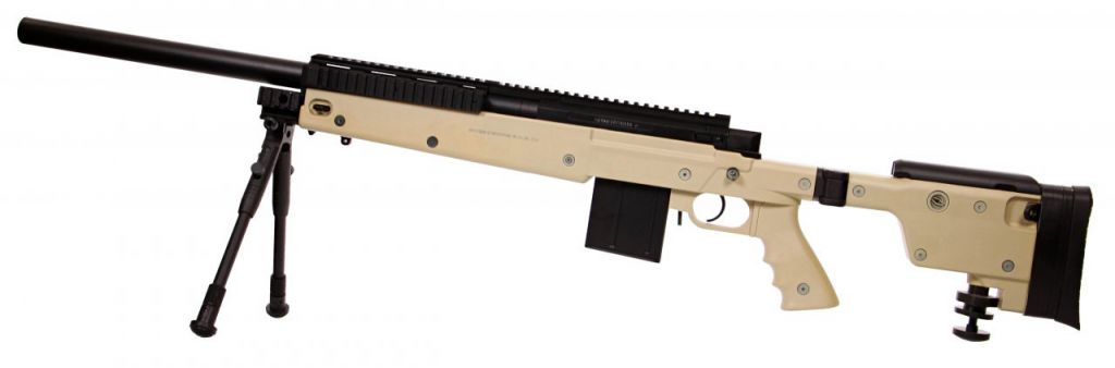 Sniper Swiss Arms Airsoft SAS 06 Tan avec bi-pieds chargeur 40BB\'s