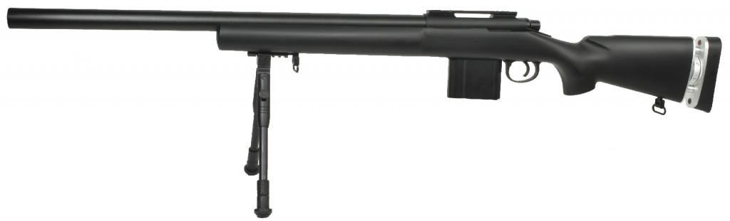 Sniper Swiss Arms Airsoft SAS04 noir spring avec bi-pieds