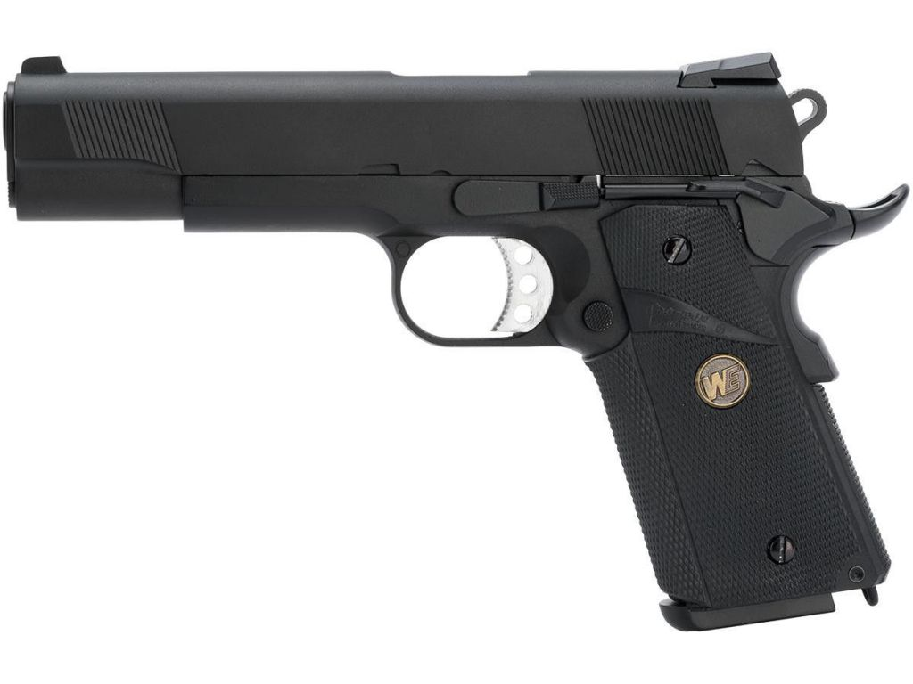 WE 1911 MEU Noir Gaz Blowback Full Metal avec rail et grip caoutchouc