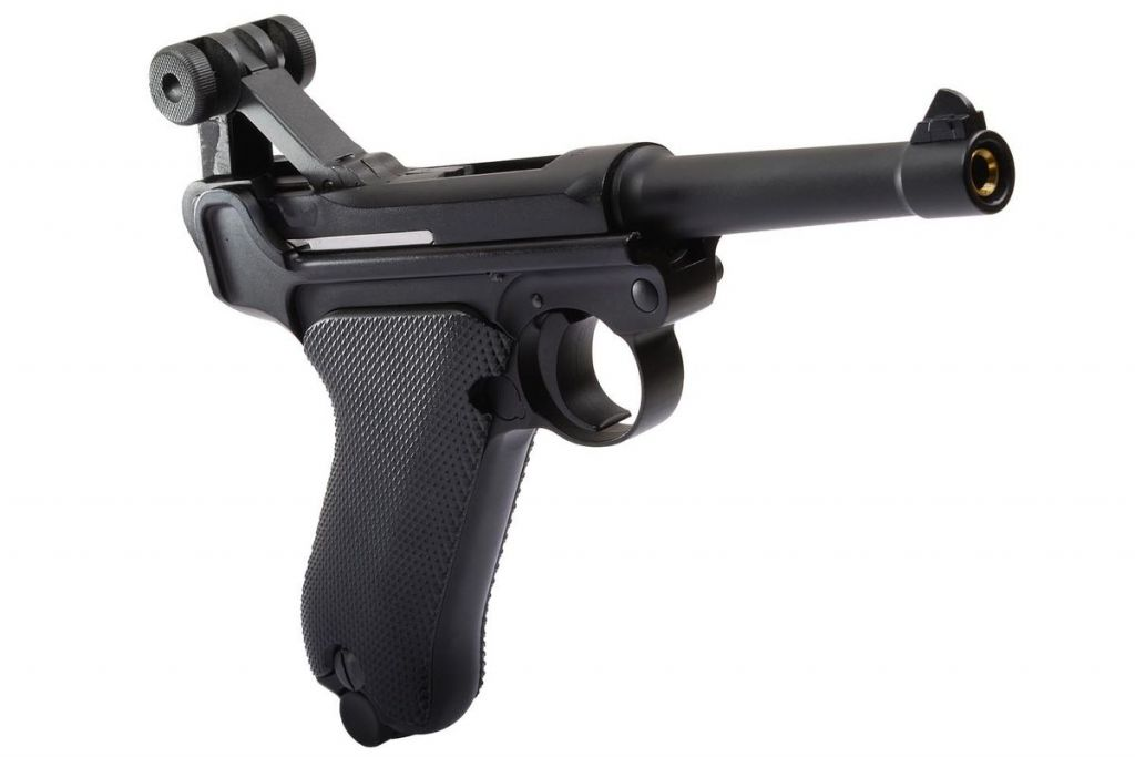 WE Airsoft P08 4\'\' Noir Full Metal GBB Gaz Blowback